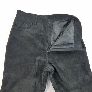Brandson Thomas Straight Leg Suede Leather Pants